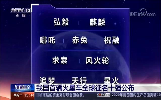 中国首辆火星车征名十强出炉